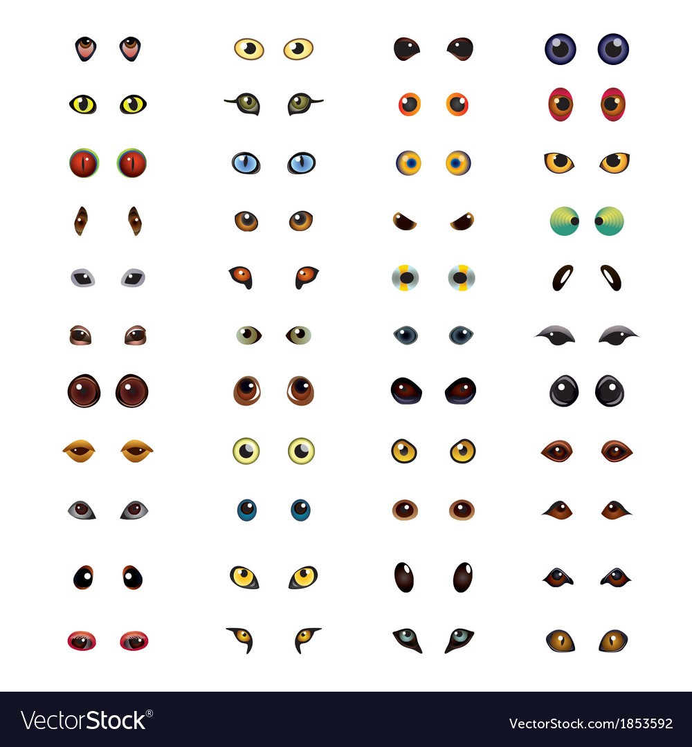 Animals eyes set vector | Price: 3 Credit (USD $3)