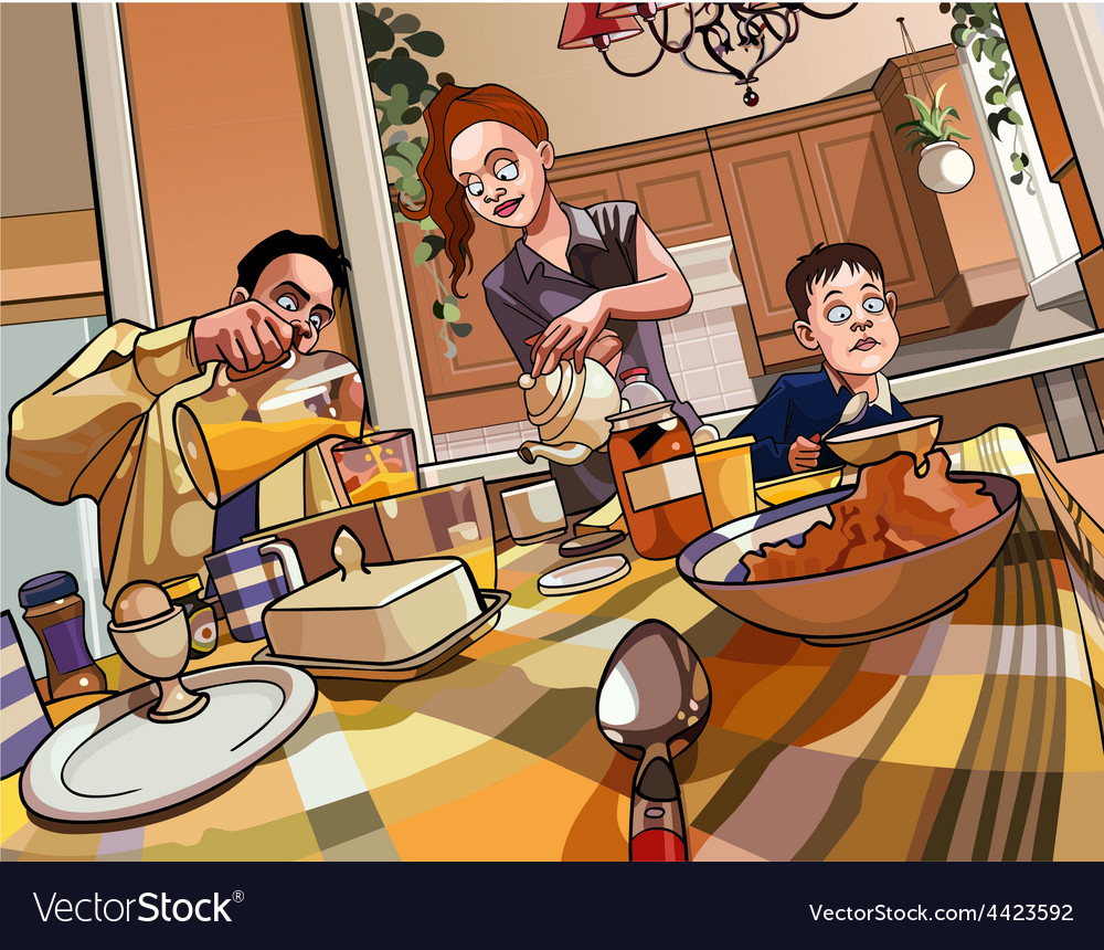 Cartoon family breakfast table vector | Price: 3 Credit (USD $3)