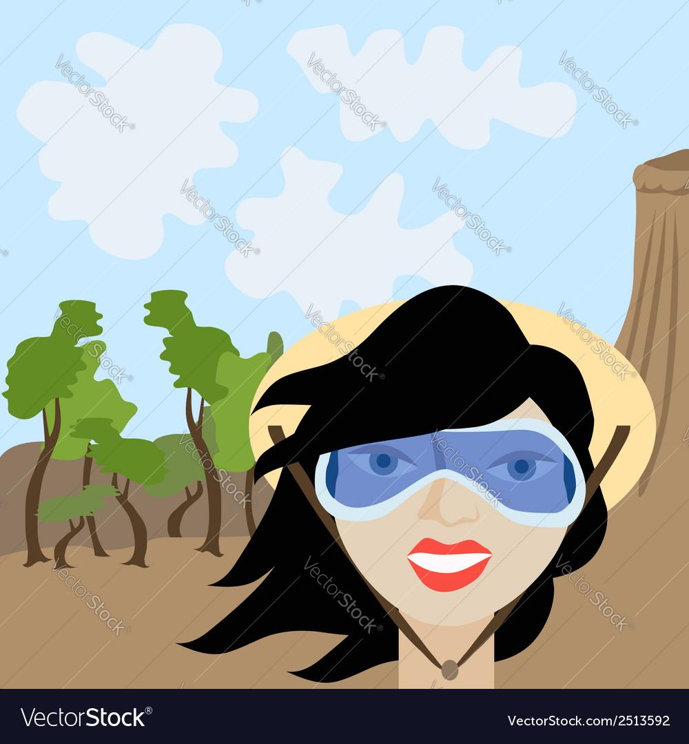 Cartoon of tourist girl vector | Price: 1 Credit (USD $1)