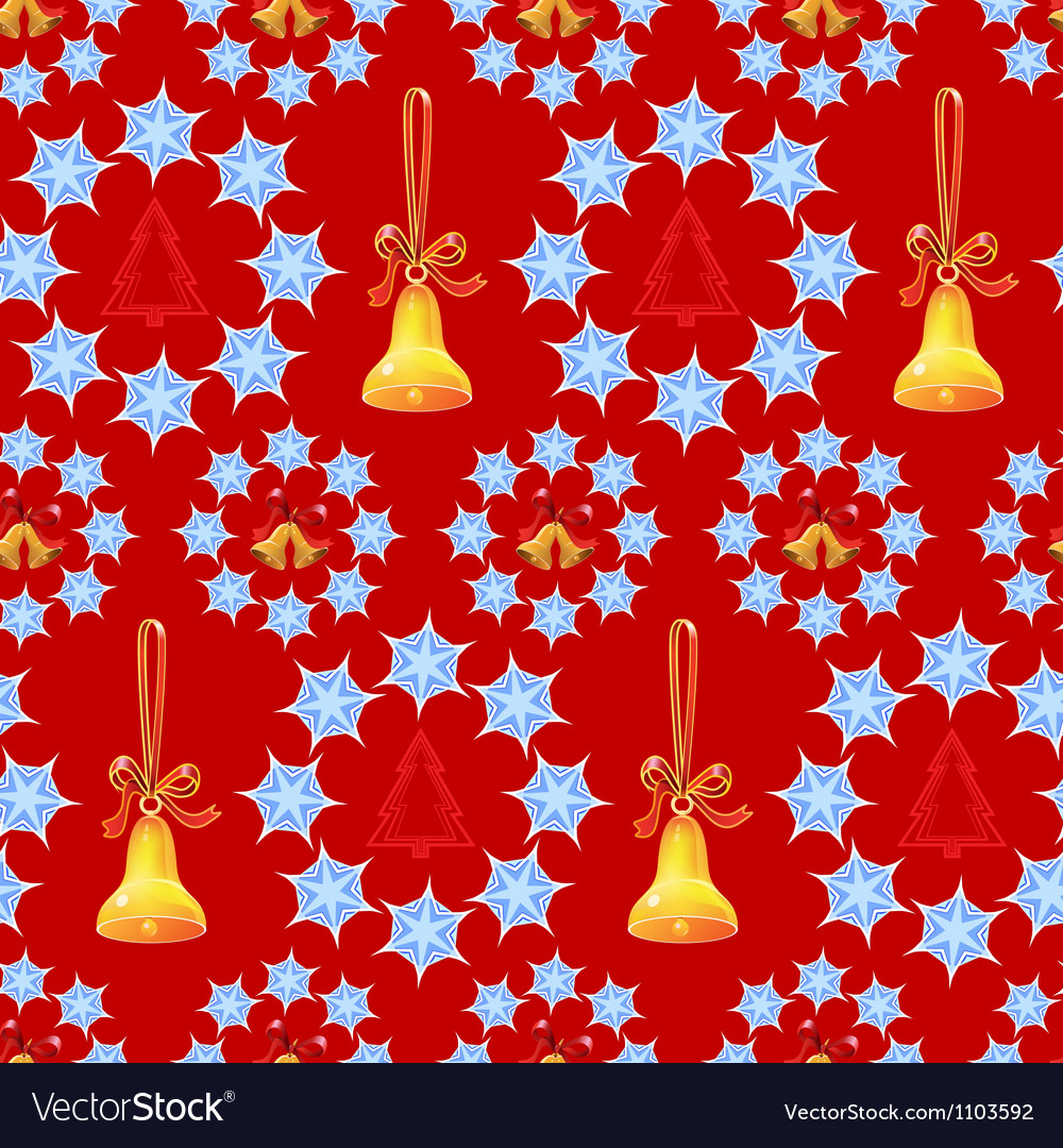 Christmas background with bells and trees vector | Price: 1 Credit (USD $1)