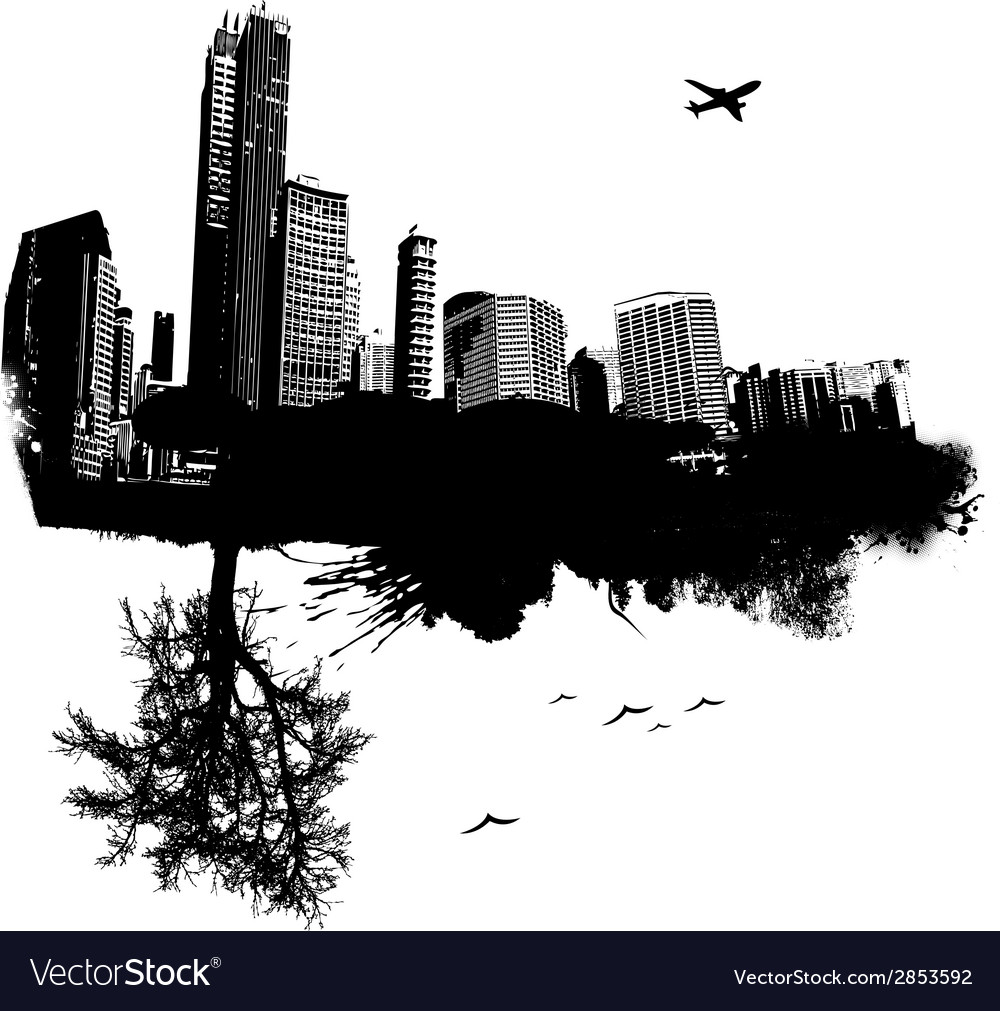 City combined with nature vector | Price: 1 Credit (USD $1)