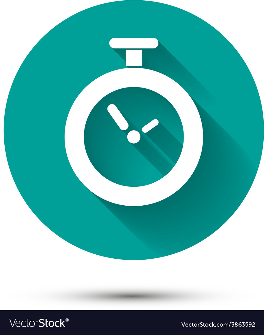 Clock icon on green background with long shadow vector | Price: 1 Credit (USD $1)