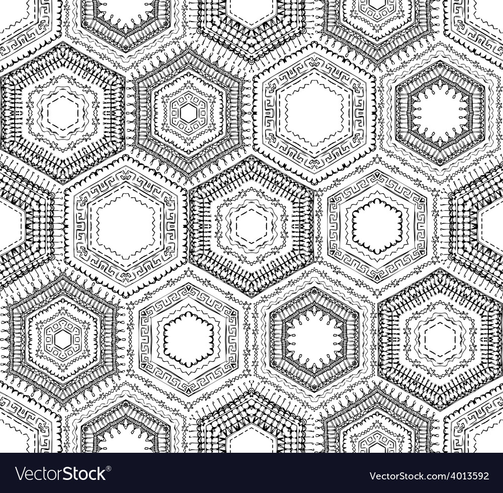Crochet seamless hexagons pattern vector | Price: 1 Credit (USD $1)