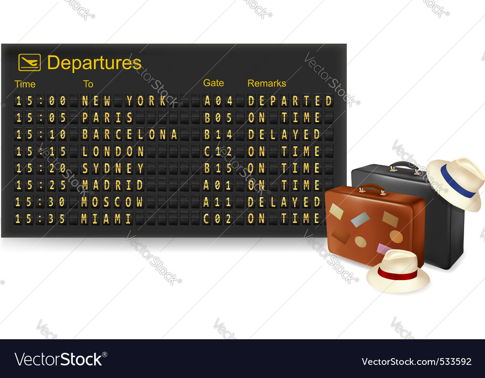 Departures and travel bags vector | Price: 1 Credit (USD $1)
