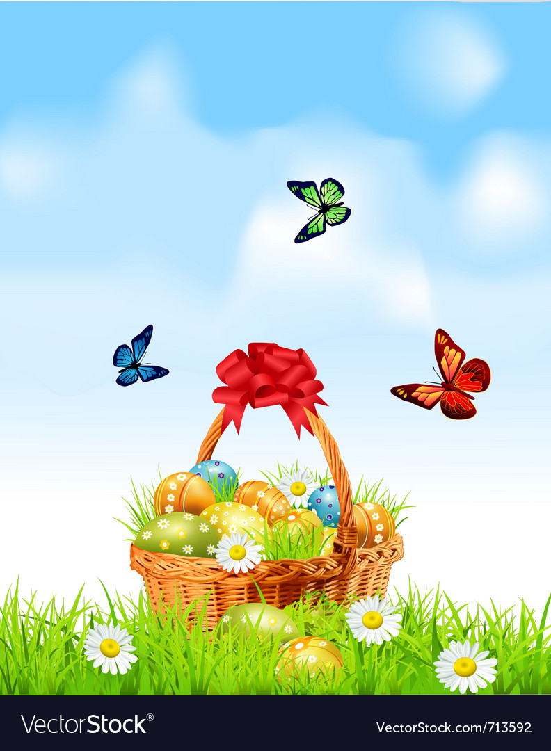 Easter egg basket vector | Price: 1 Credit (USD $1)
