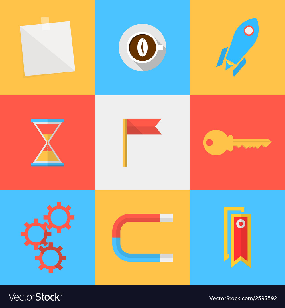 Flat icons for target of outsourced vector | Price: 1 Credit (USD $1)