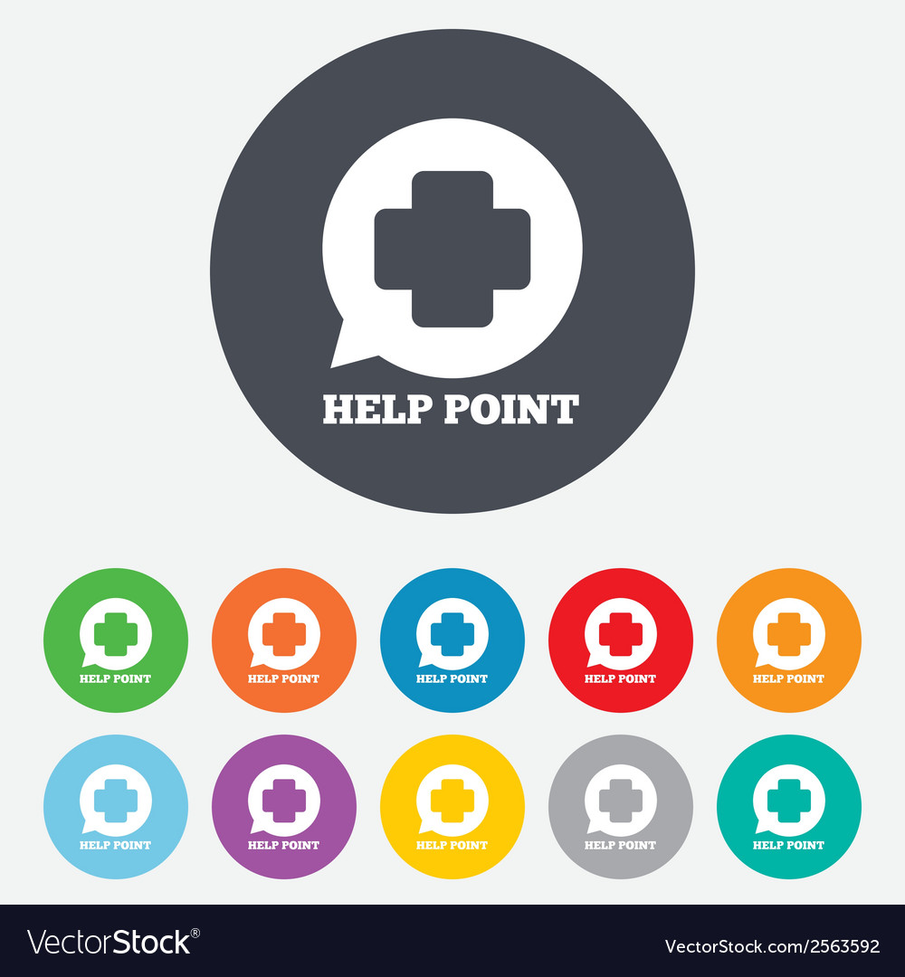 Help point sign icon medical cross symbol vector | Price: 1 Credit (USD $1)