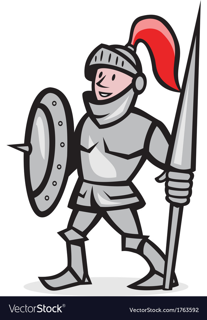 Knight shield holding lance cartoon vector | Price: 1 Credit (USD $1)