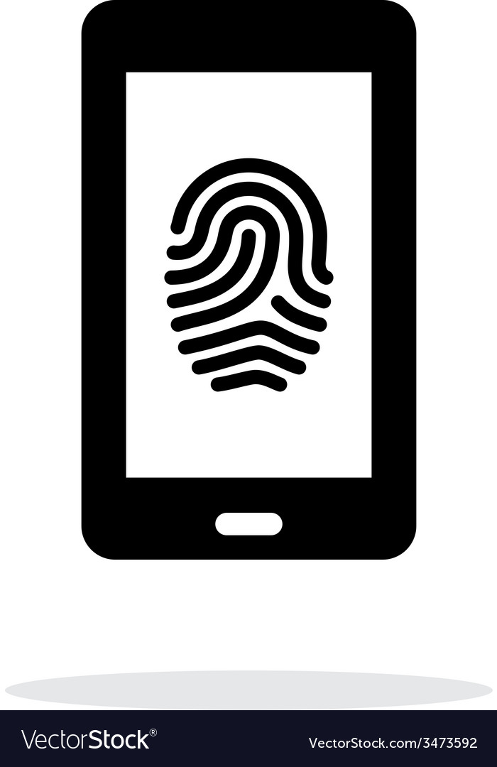 Phone fingerprint icon on white background vector | Price: 1 Credit (USD $1)