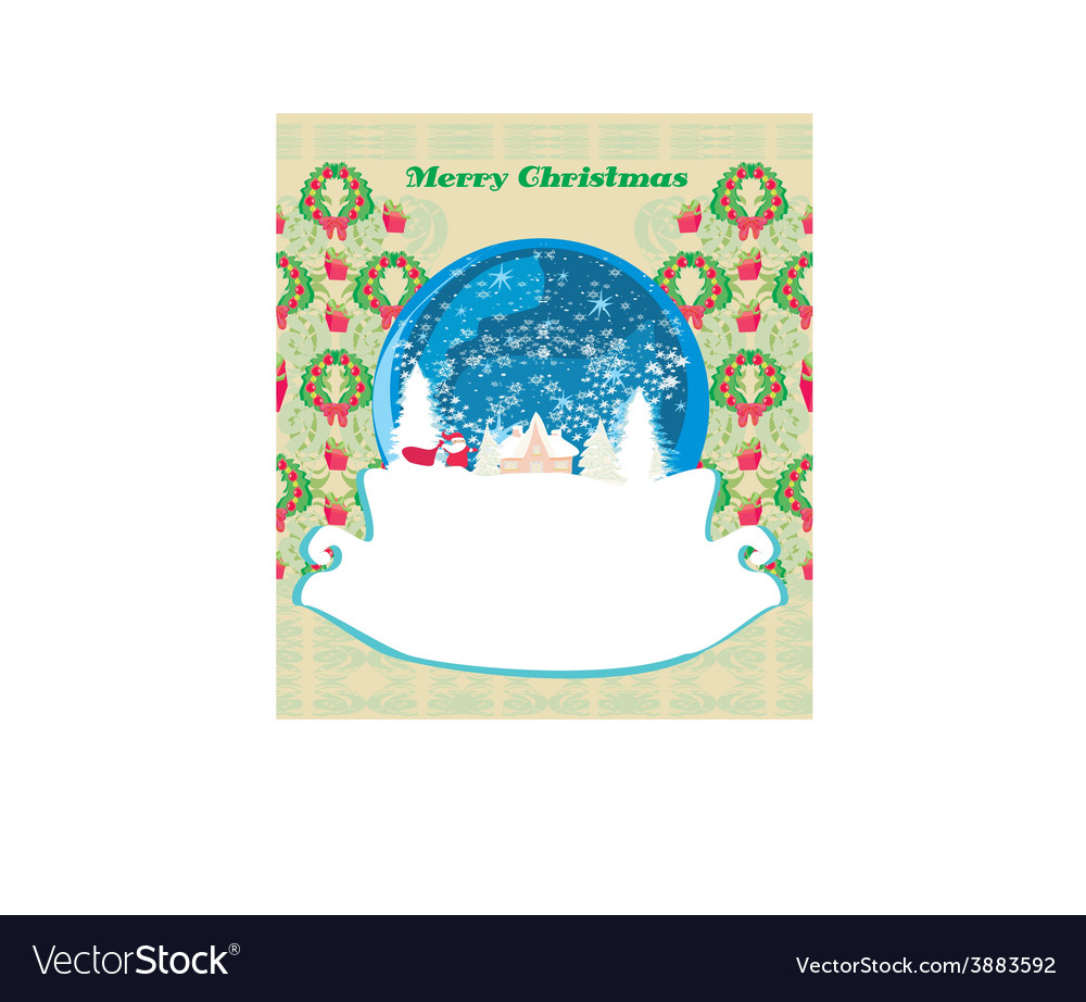 Santa claus in a glass ball retro christmas card vector | Price: 1 Credit (USD $1)