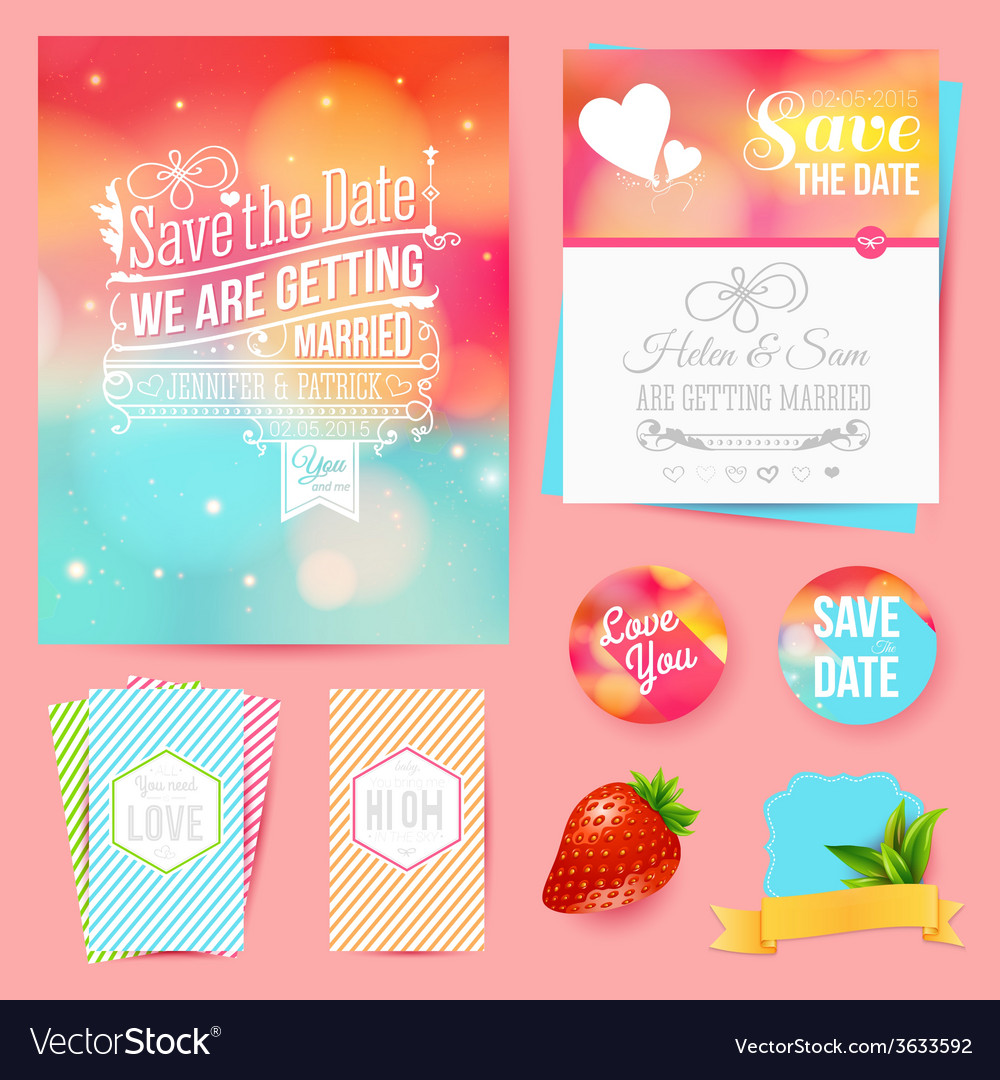 Save the date for personal holiday set of wedding vector | Price: 1 Credit (USD $1)