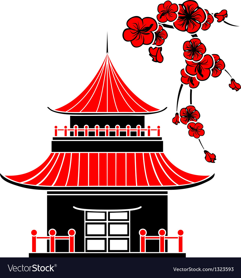 Asian house and cherry blossoms vector | Price: 1 Credit (USD $1)