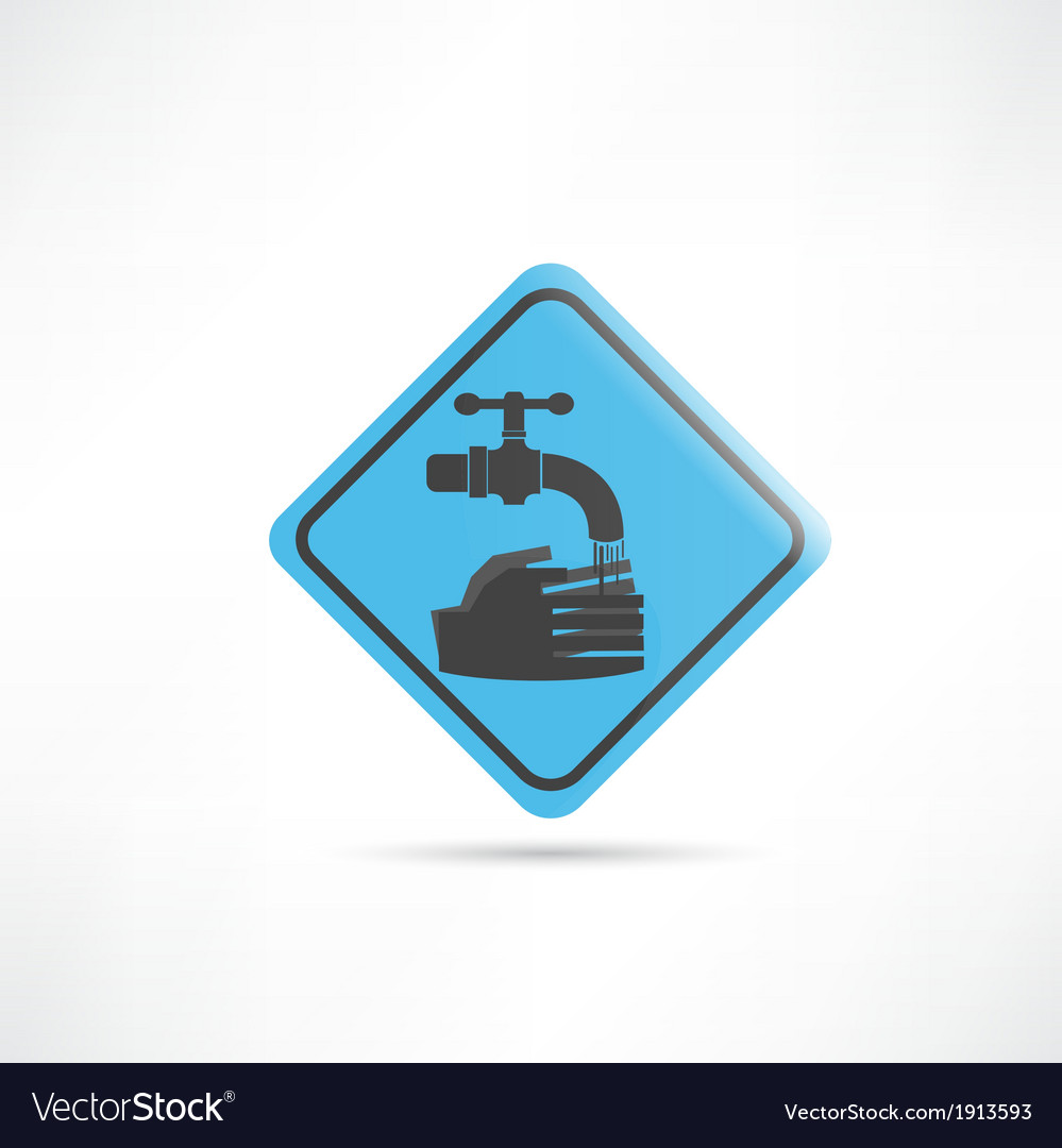 Blue sign wash your hands icon vector | Price: 1 Credit (USD $1)