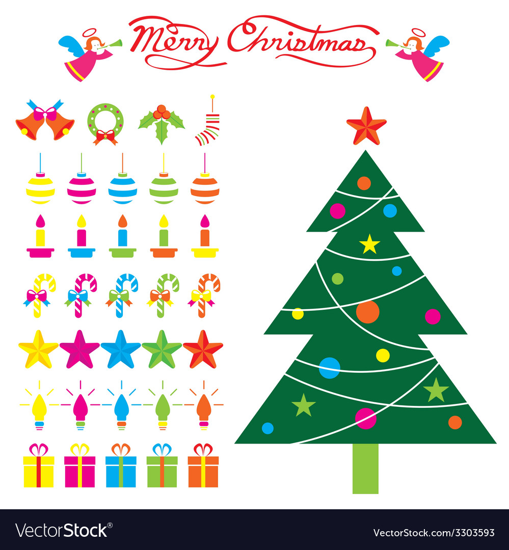 Christmas tree and decoration objects vector | Price: 1 Credit (USD $1)