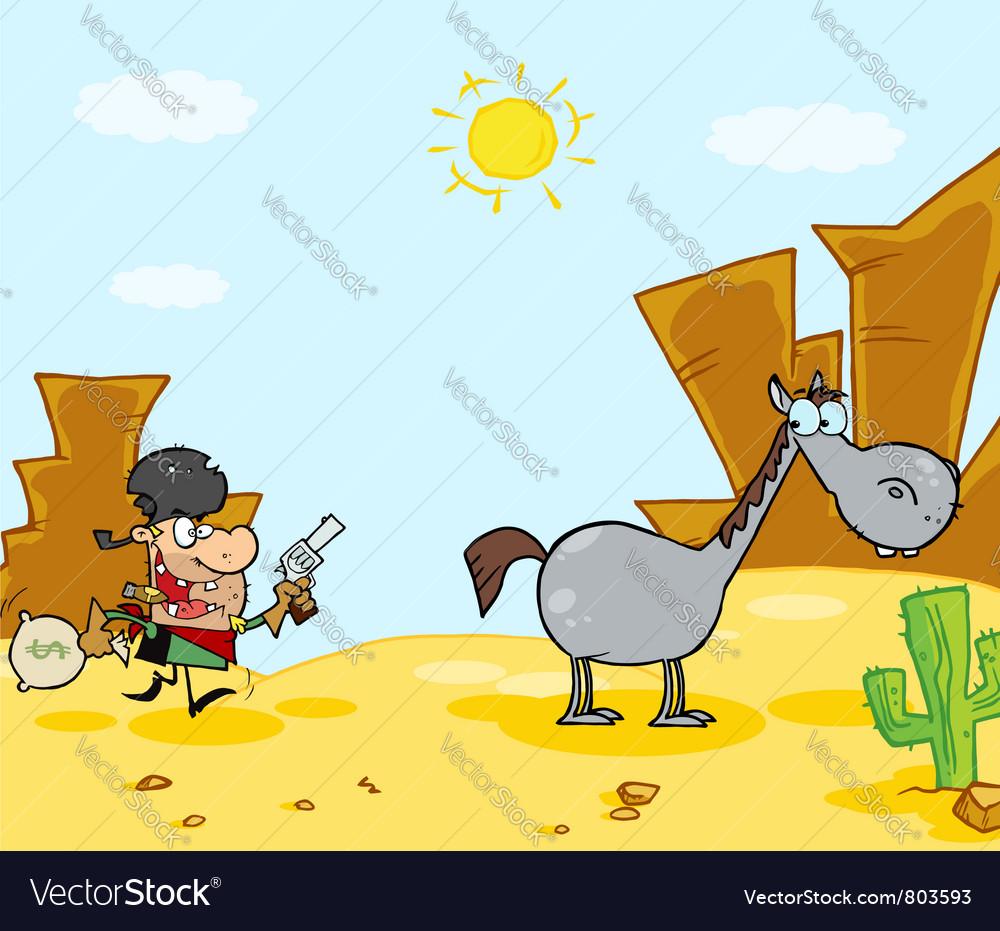 Cowboy escapes to his horse vector | Price: 1 Credit (USD $1)