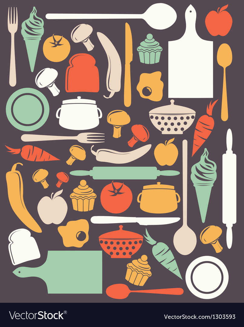 Cute kitchen pattern vector | Price: 1 Credit (USD $1)