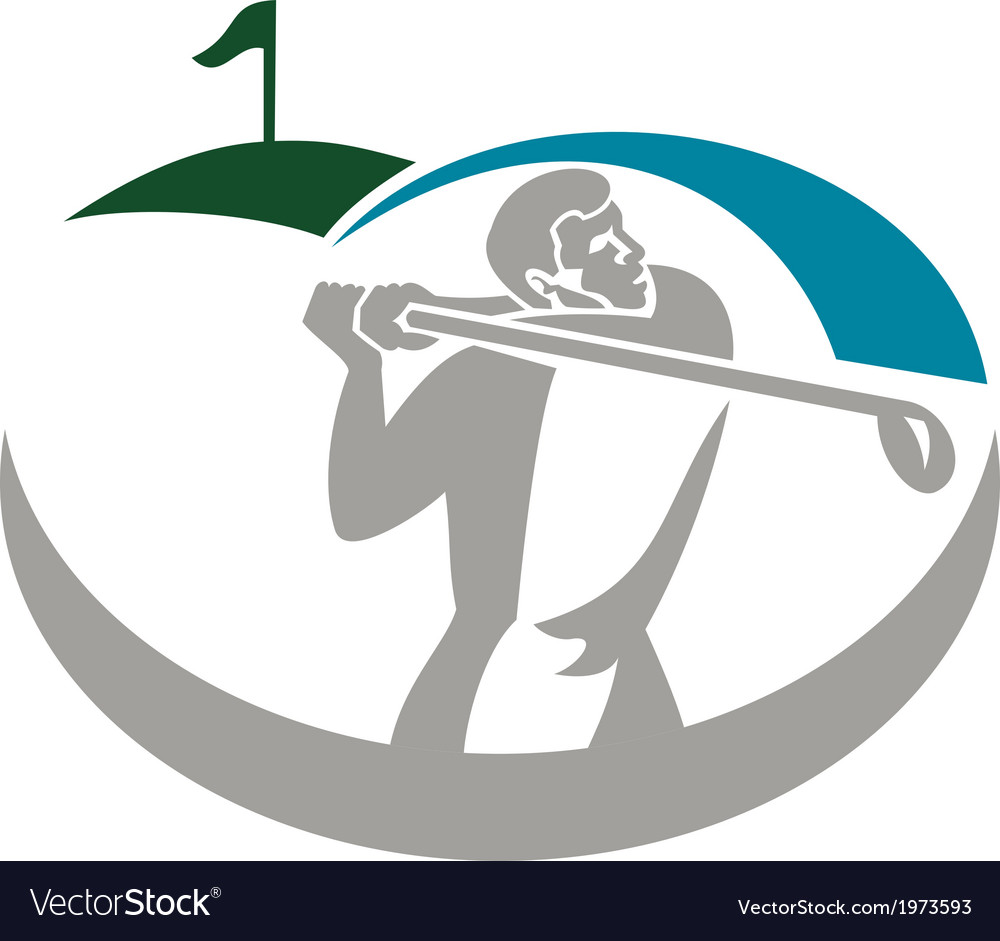 Golfer tee off golf retro vector | Price: 1 Credit (USD $1)