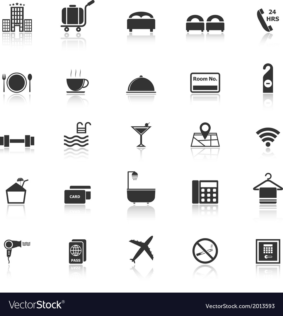 Hotel icons with reflect on white background vector | Price: 1 Credit (USD $1)
