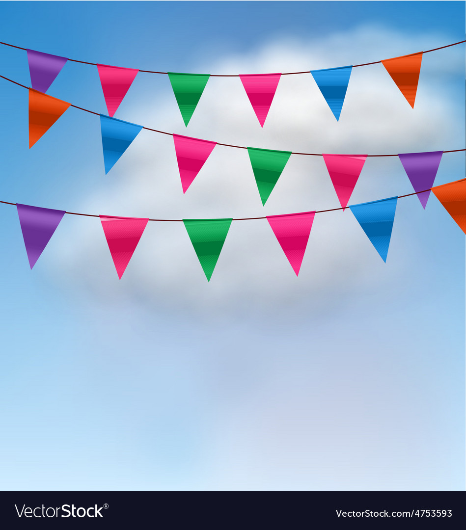Multicolored buntings flags garlands vector | Price: 1 Credit (USD $1)