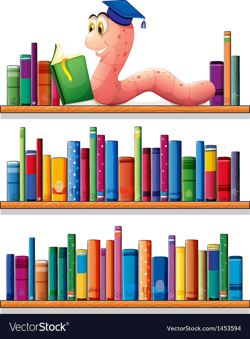 An earthworm reading at the top of the bookshelves vector | Price: 1 Credit (USD $1)