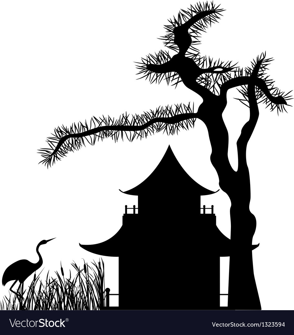 Asian house under a pine tree silhouette vector | Price: 1 Credit (USD $1)