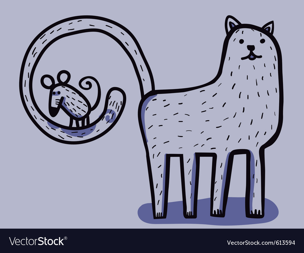 Cat with mouse in tail vector | Price: 3 Credit (USD $3)