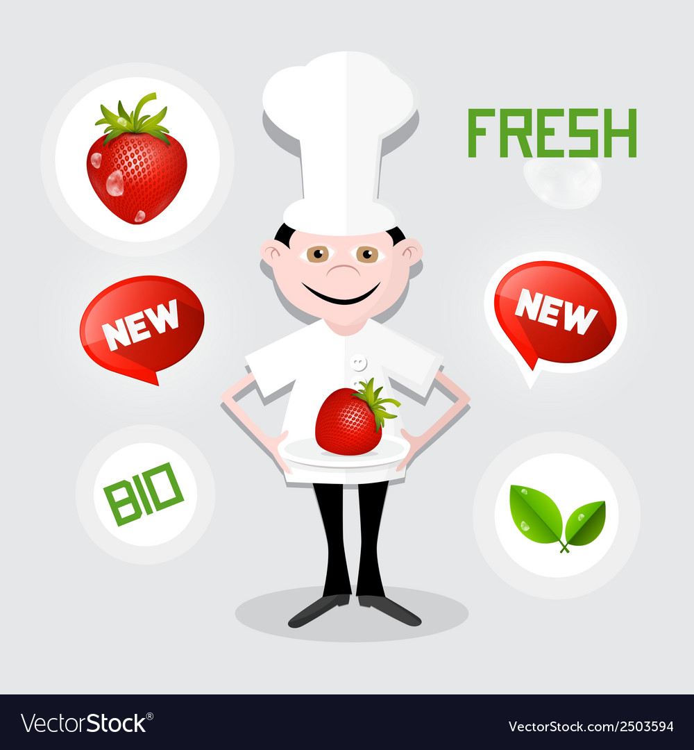 Chef - cook with strawberry on plate vector | Price: 1 Credit (USD $1)