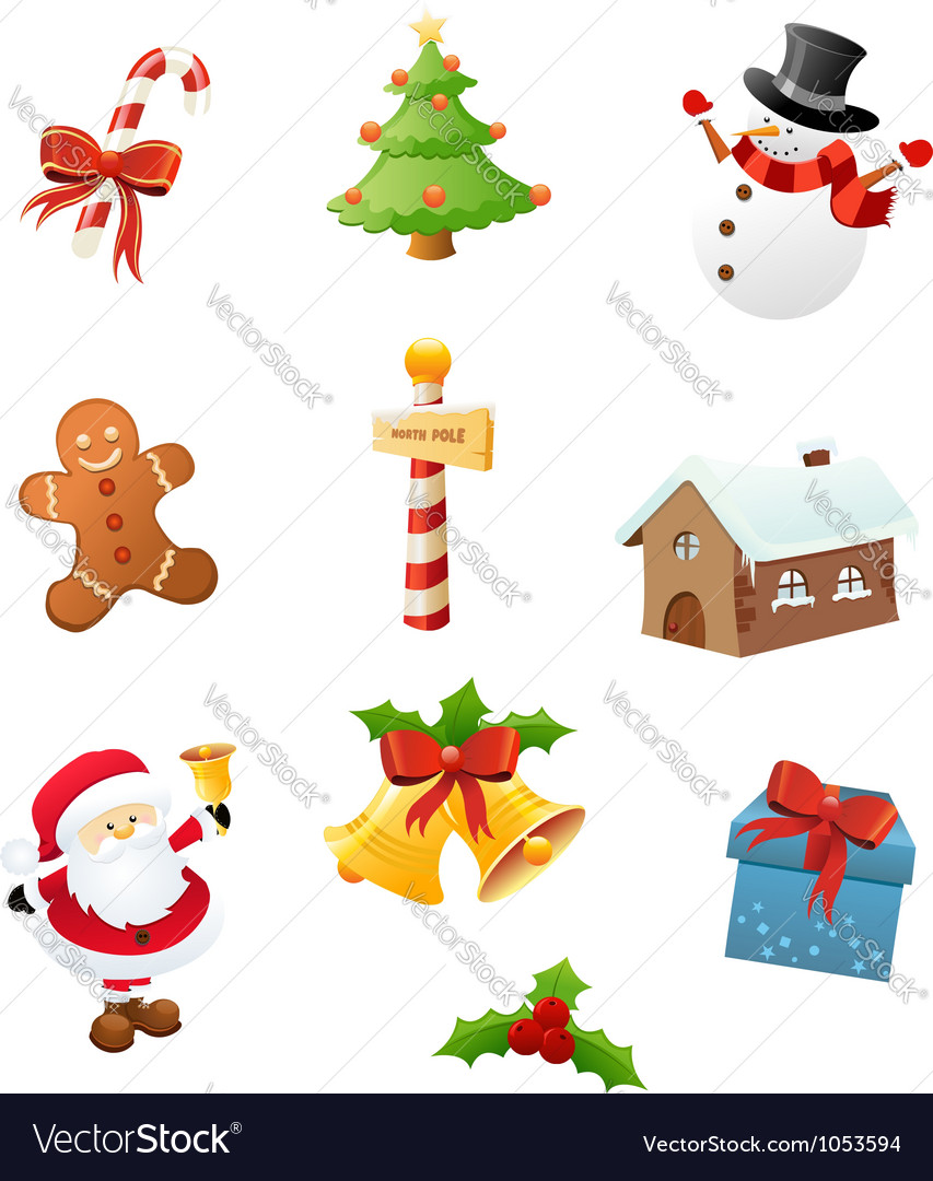 Christmas icon set vector | Price: 3 Credit (USD $3)