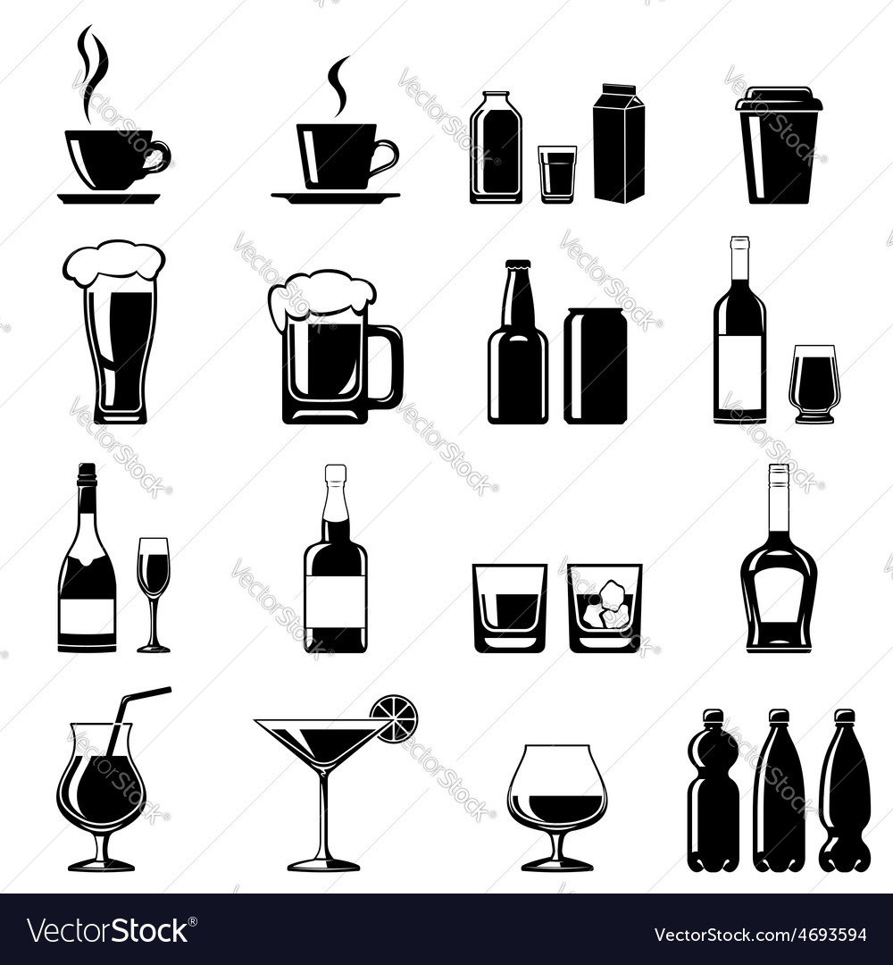 Drinks icons set vector | Price: 1 Credit (USD $1)