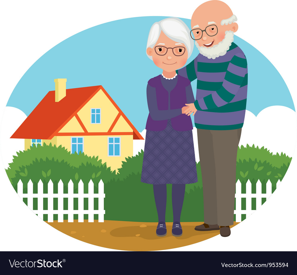 Elderly couple at their home vector | Price: 5 Credit (USD $5)