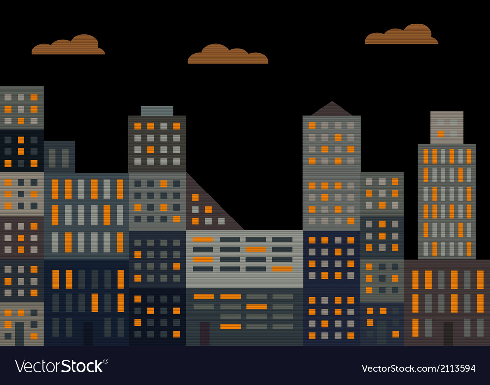 Evening city vector | Price: 1 Credit (USD $1)