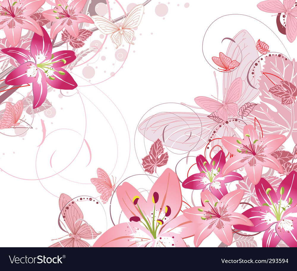 Floral pattern lilies vector | Price: 1 Credit (USD $1)