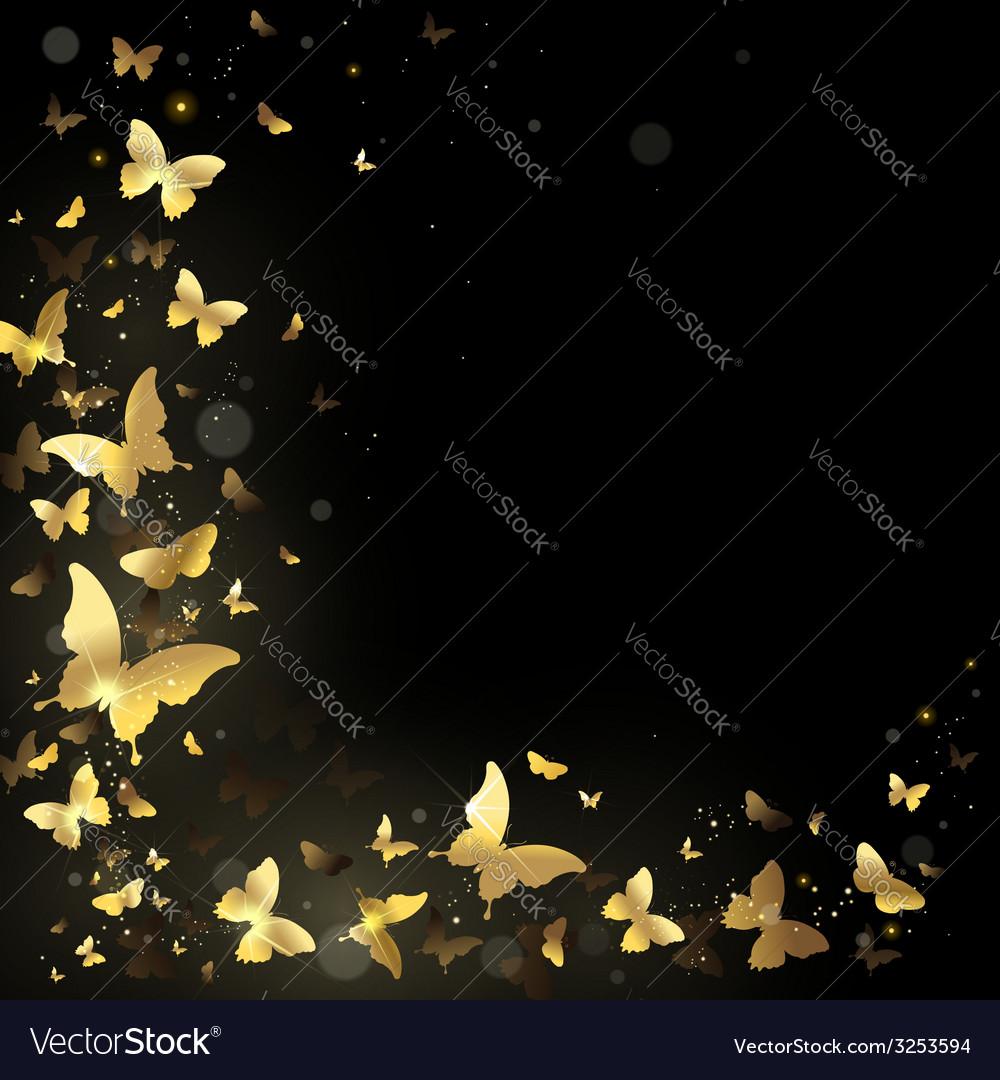 Frame of golden butterflies vector | Price: 1 Credit (USD $1)