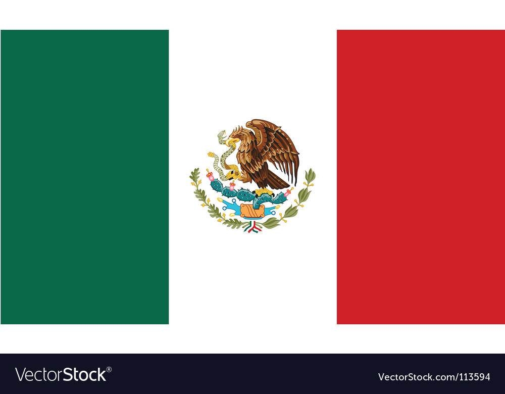 Mexico flag vector | Price: 1 Credit (USD $1)