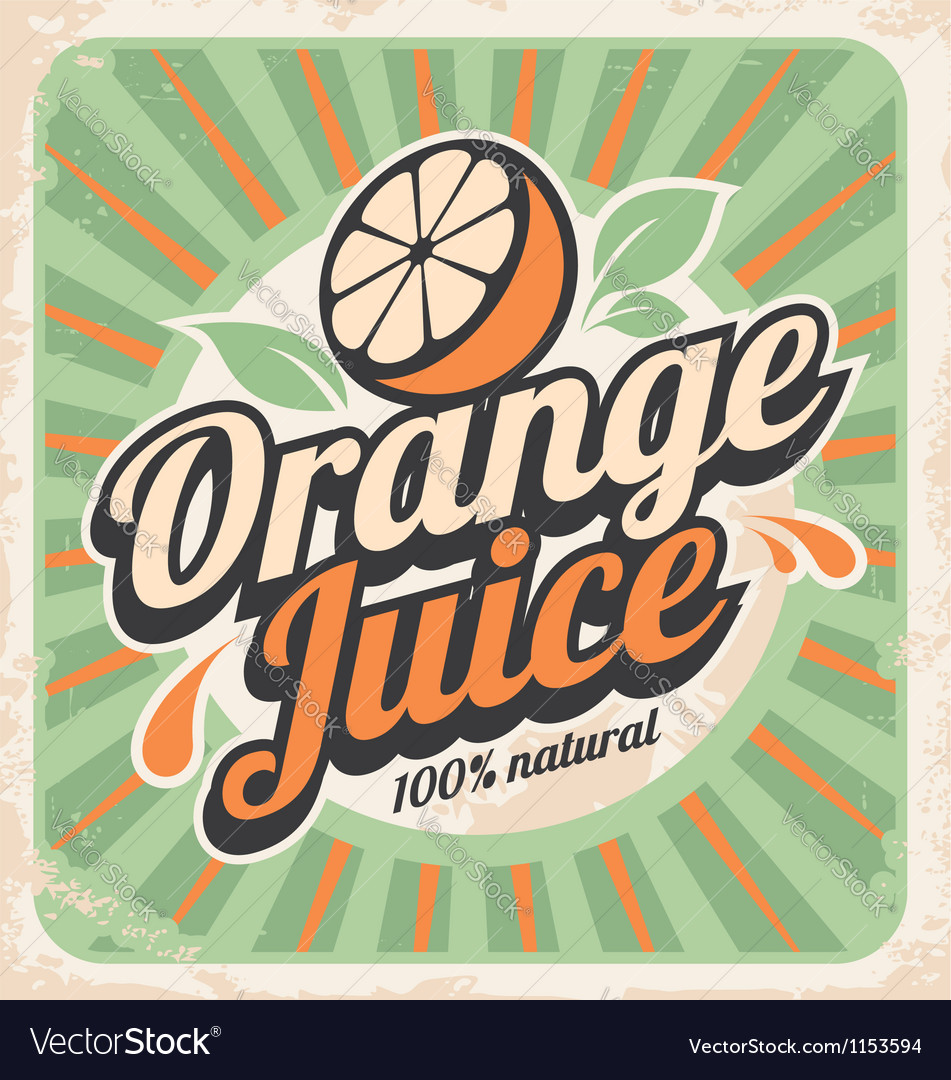 Orange juice retro poster vector | Price: 1 Credit (USD $1)