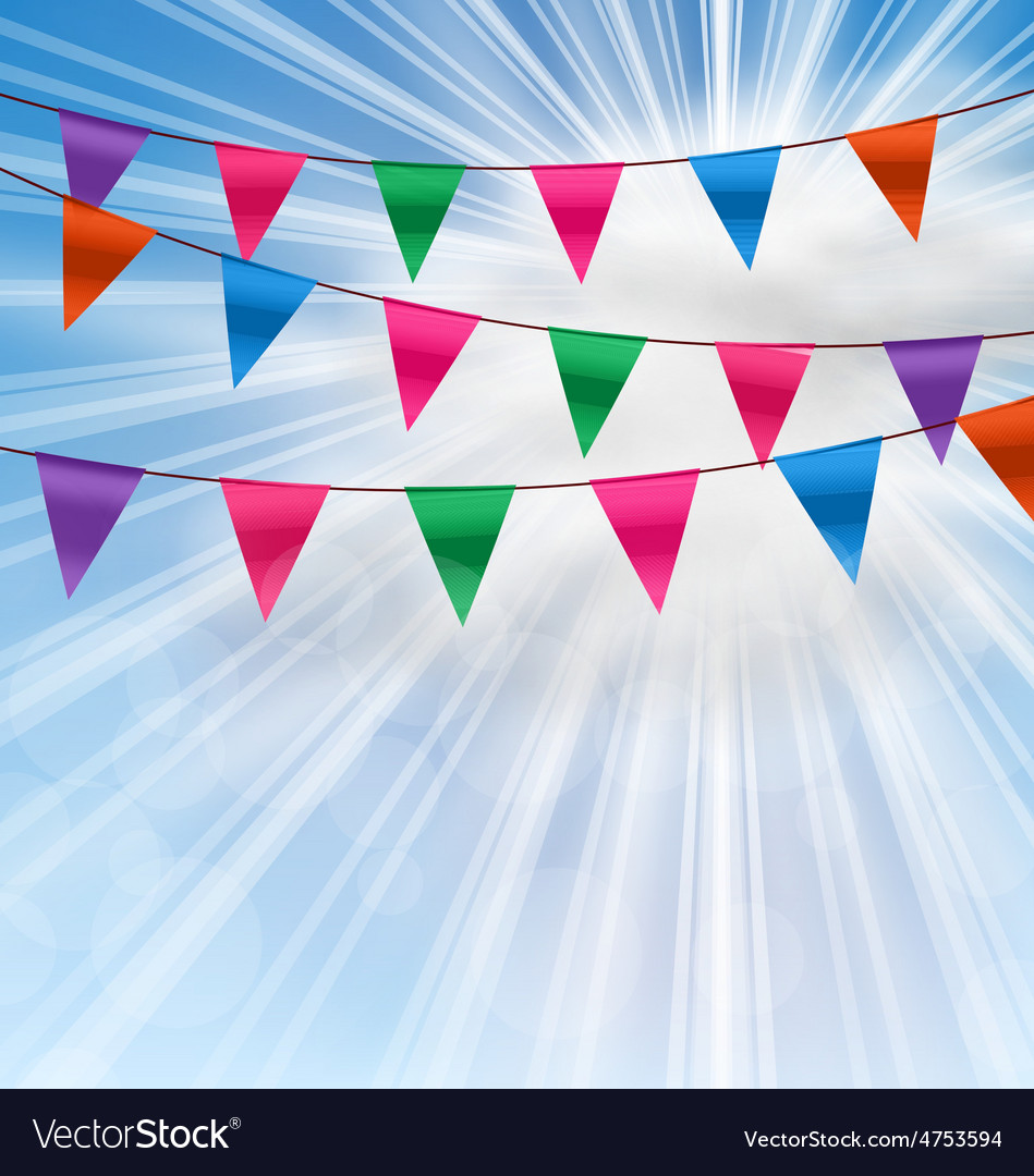 Party background with buntings flags garlands vector | Price: 1 Credit (USD $1)