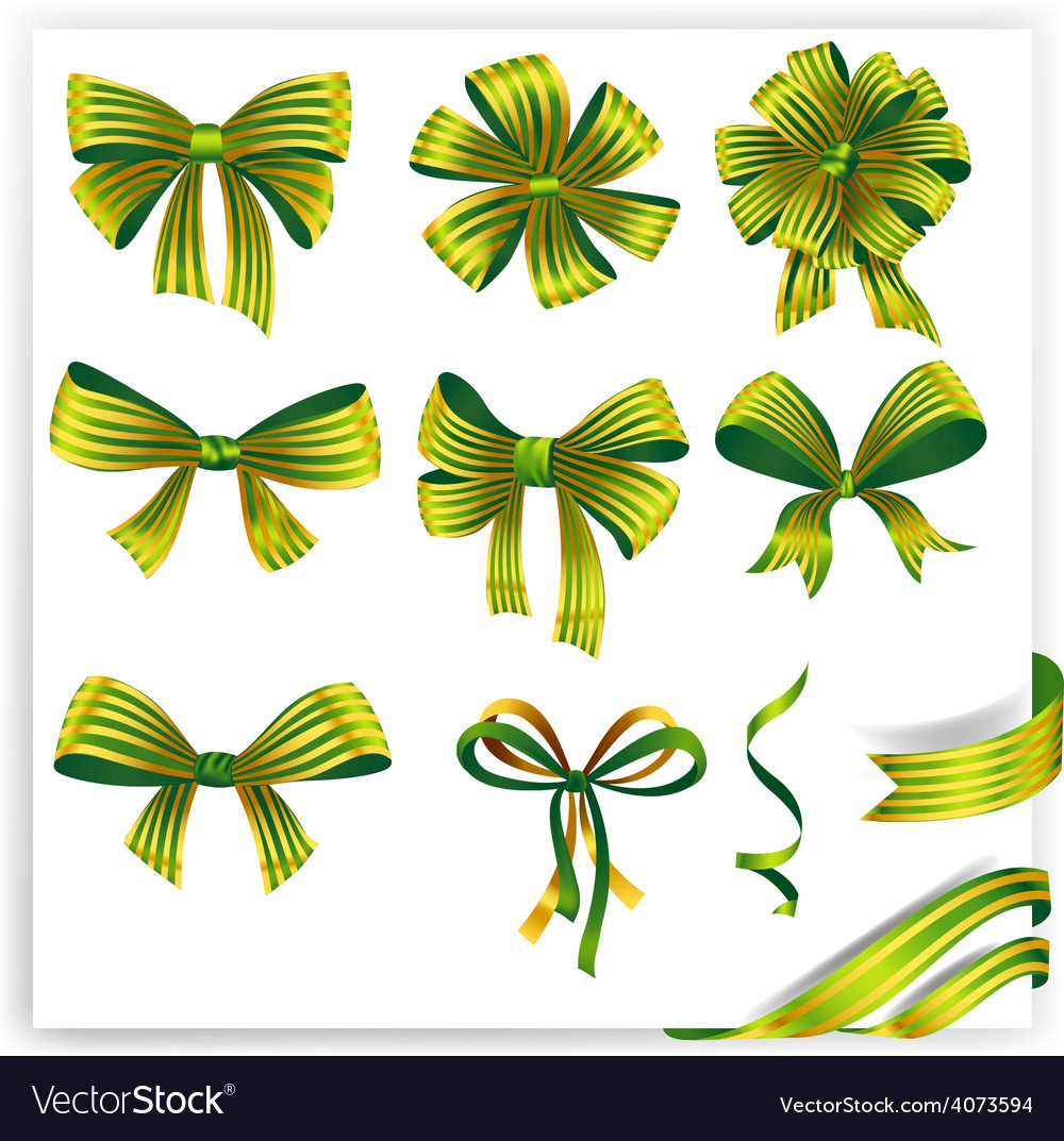 Set of green striped gift bows with ribbons vector | Price: 3 Credit (USD $3)