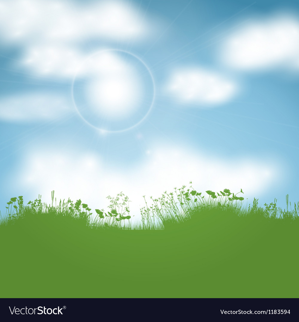 Sunny landscape vector | Price: 1 Credit (USD $1)