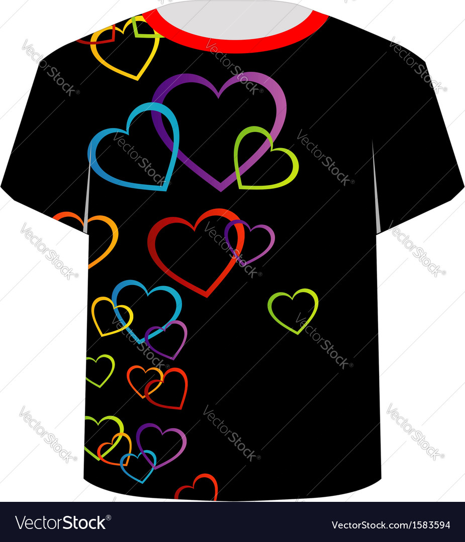 T shirt template- colorful hearts vector | Price: 1 Credit (USD $1)