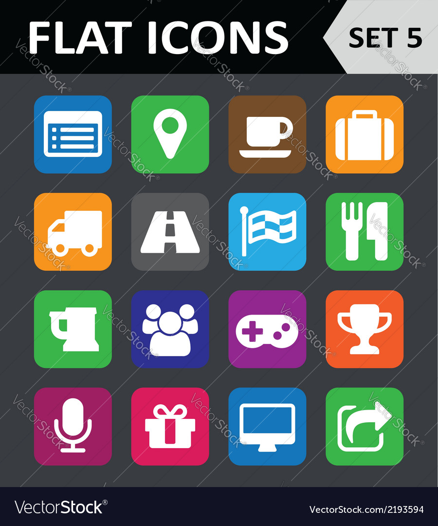 Universal colorful flat icons set 5 vector | Price: 1 Credit (USD $1)