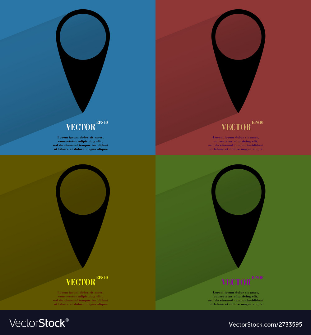 Color set map pointers flat modern web button with vector | Price: 1 Credit (USD $1)