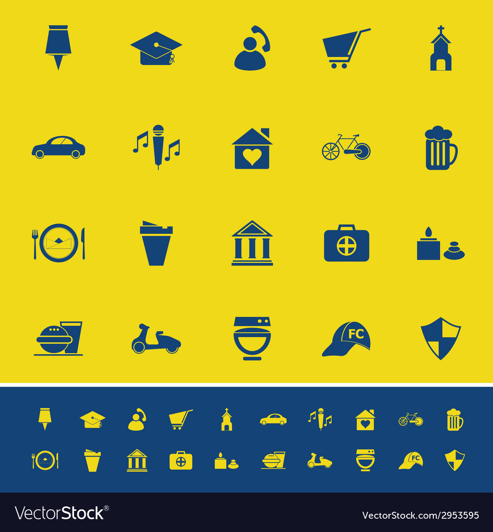 Map sign and symbol color icons on yellow vector | Price: 1 Credit (USD $1)