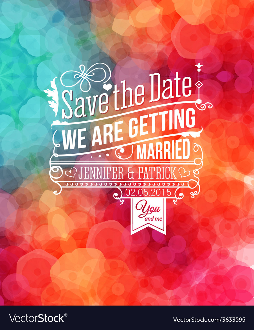 Save the date for personal holiday wedding vector | Price: 1 Credit (USD $1)