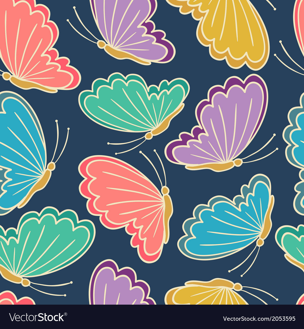 Seamless pattern with stylized butterflies vector | Price: 1 Credit (USD $1)