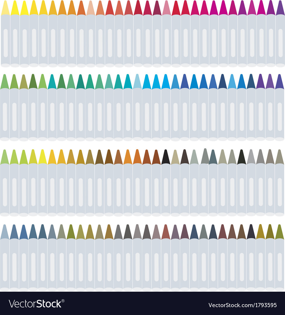 Set of wax crayons on white background vector | Price: 1 Credit (USD $1)