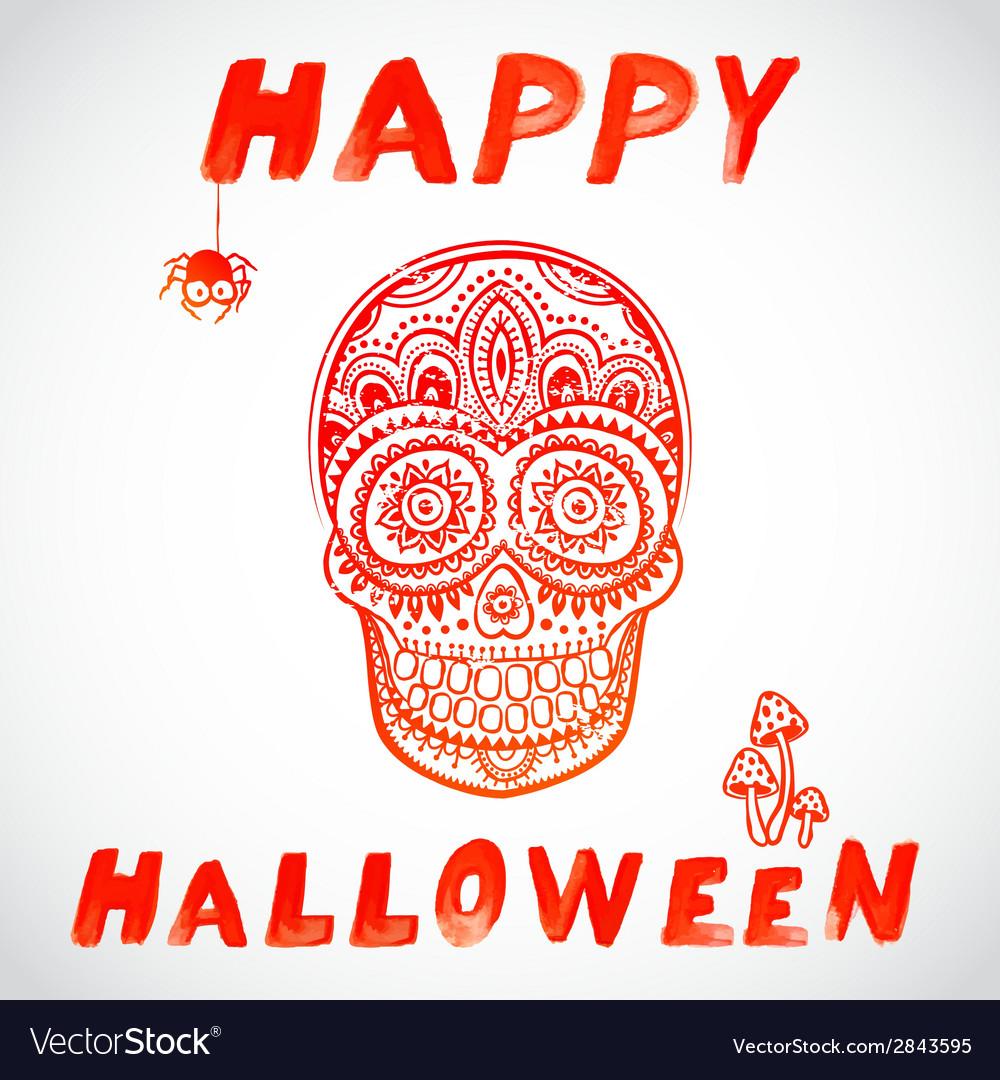 Vintage halloween skull vector | Price: 1 Credit (USD $1)