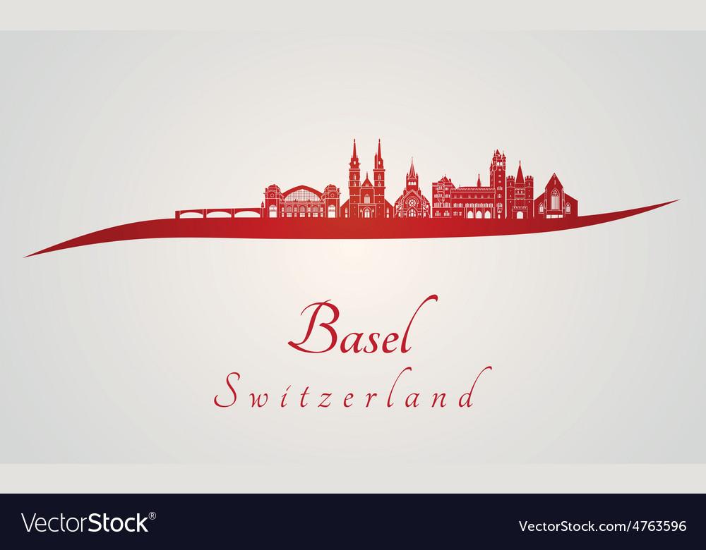 Basel skyline in red vector | Price: 1 Credit (USD $1)