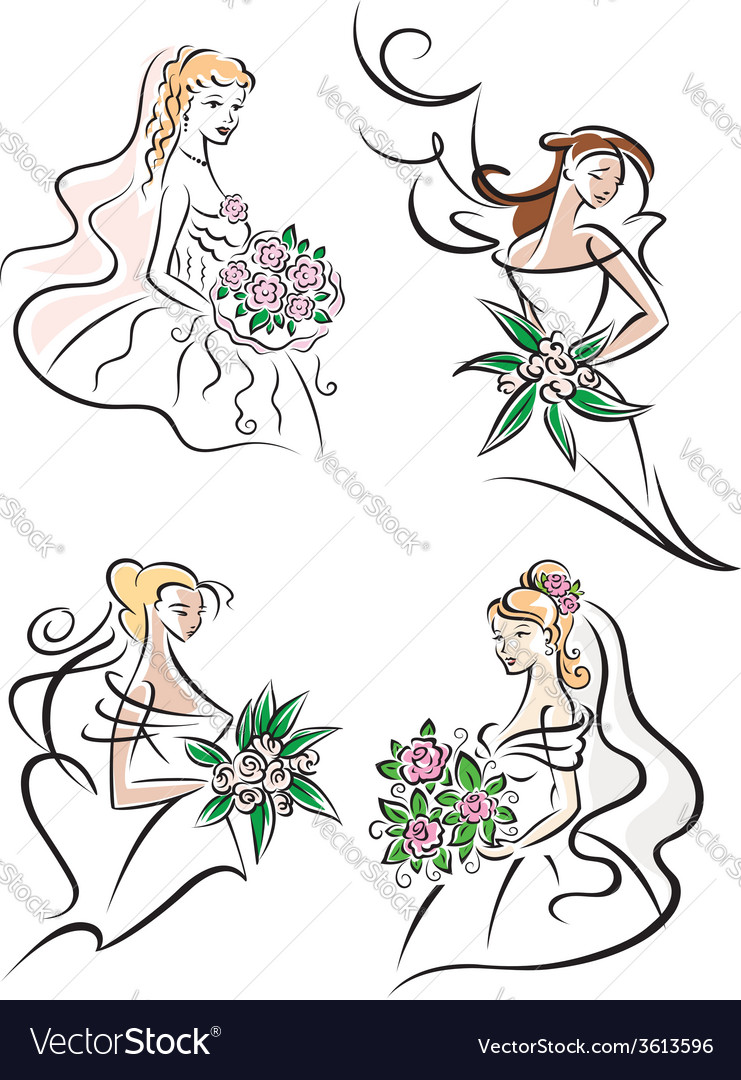 Bride with bouquet icons vector | Price: 1 Credit (USD $1)