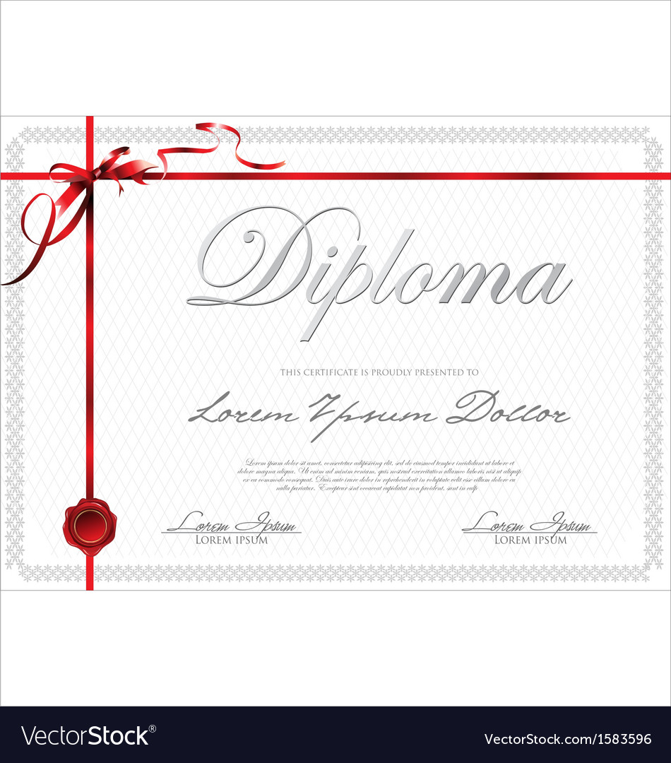 Certificate template with red ribbon vector | Price: 1 Credit (USD $1)