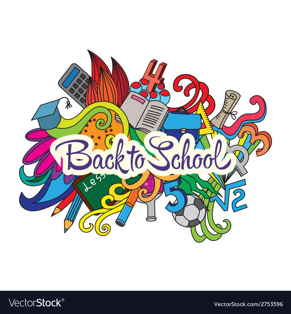 Decorative doodles design card back to school vector | Price: 1 Credit (USD $1)